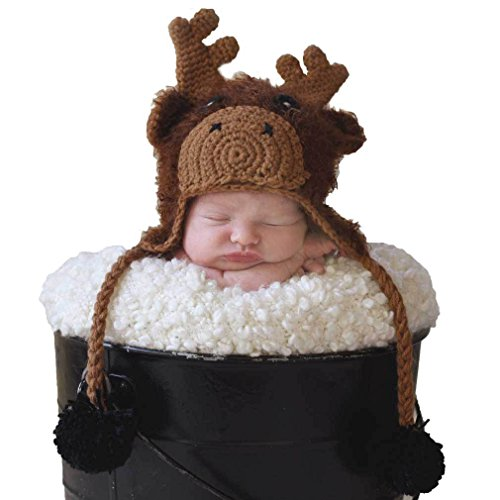 Huggalugs Baby and Toddlers Boys Girls Moose Beanie