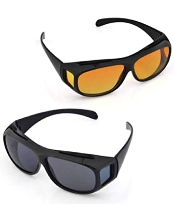 fbbf2605fe BOOLAVARD 2 PACK HD Night Day Vision Driving Wrap Around Anti Glare  Sunglasses with Polarized Lens