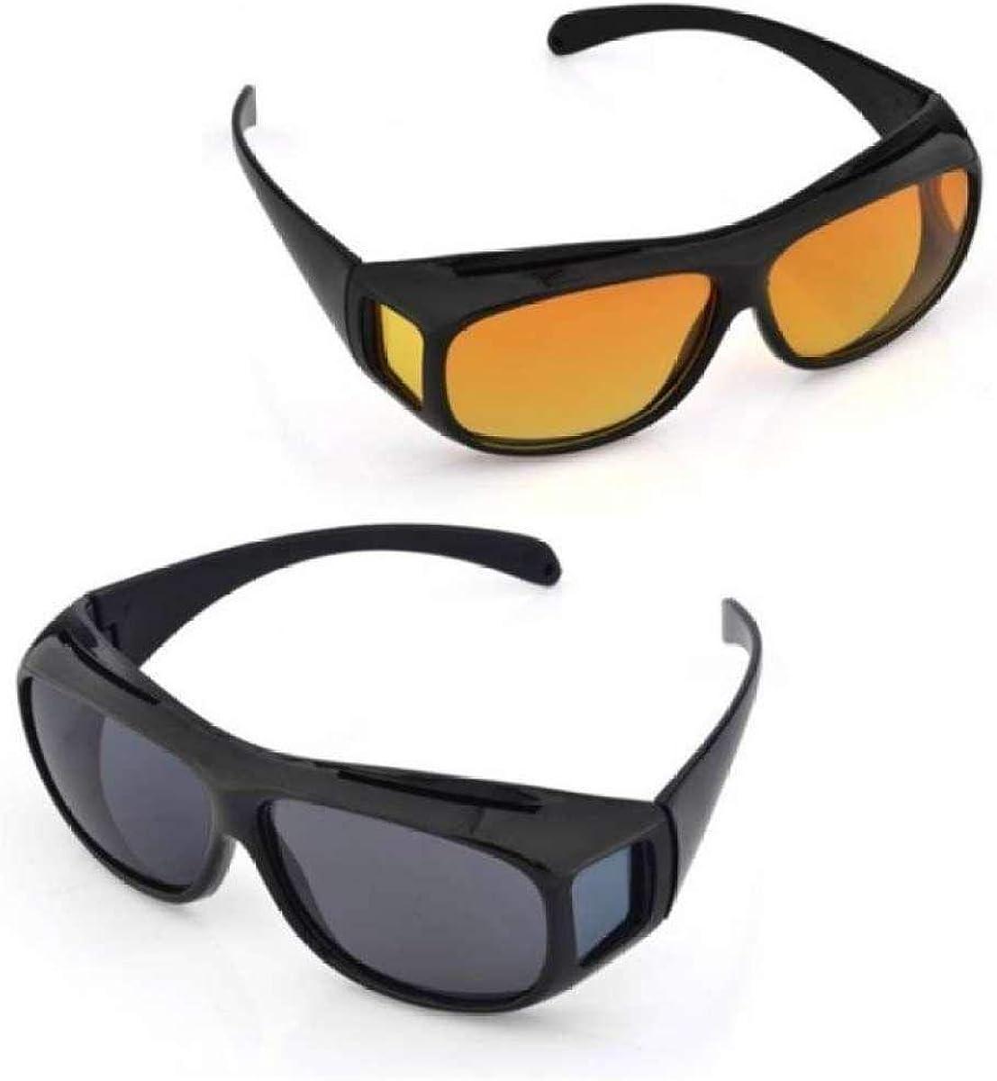 Boolavard 2-pack Juega gafas de visión nocturna para conductores de automóviles, para quienes usan gafas, lentes polarizadas tintadas, según la norma ISO, negro/amarillo