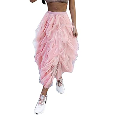 HCFKJ Falda de Tul para Mujer, Falda de Malla Plisada Mujer Rosa S ...