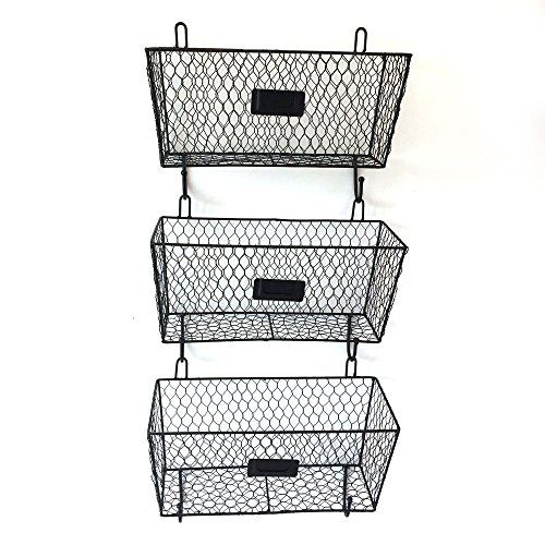 (3pcs Wire Letter Mail Sorter Wall Mount Metal Rack Basket Vintage Triple Organizer Black)