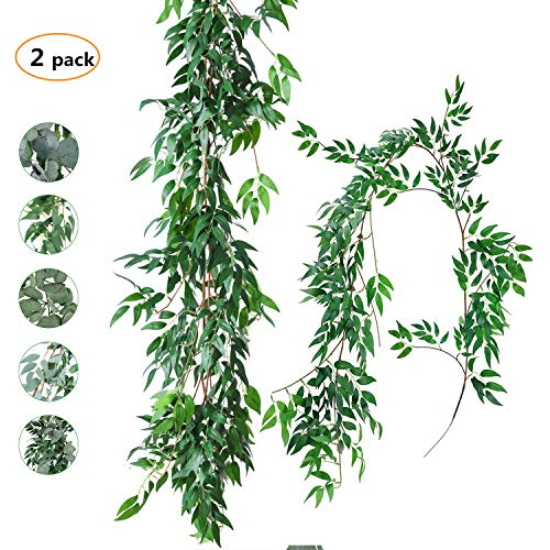 TOPHOUSE 2 Pack 6 Feet Artificial Greenery Garland Faux Silk Hanging Willow Leaves Vines Wreath for Wedding Backdrop Wall Decor Flower Arrangement (Green Willow Leaves Garland, 2) -