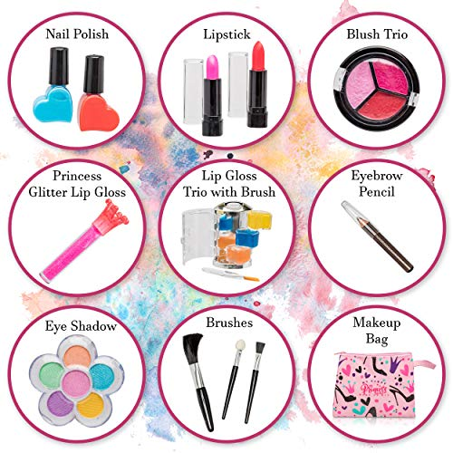 FoxPrint My First Princess Make Up Kit – 12 Pc Kids Makeup Set Washable Makeup For Girls These Makeup Toys for Girls…