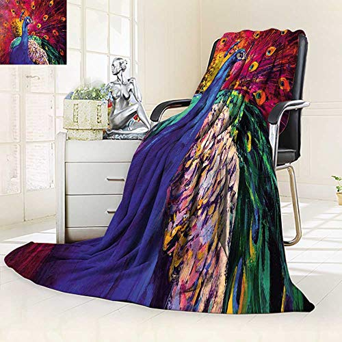 Colored Multi Beautiful (YOYI-HOME Plush Throw Duplex Printed Blanket Super Soft Original Oil on Canvas Beautiful Multicolored Peacock Modern Blanket Perfect for Couch Sofa/39.5
