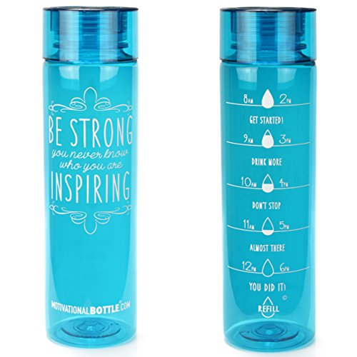 32oz Motivational Bottle Fitness Workout Sports Water Bottle with Unique Timeline | Measurements | Goal Marked Times For Measuring Your Daily Water Intake, BPA Free Non-toxic Tritan