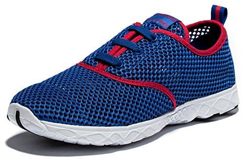 Viihahn Hombres Los Zapatos Del Agua De Malla Transpirable Con Cordones De Secado Rápido Del Azul