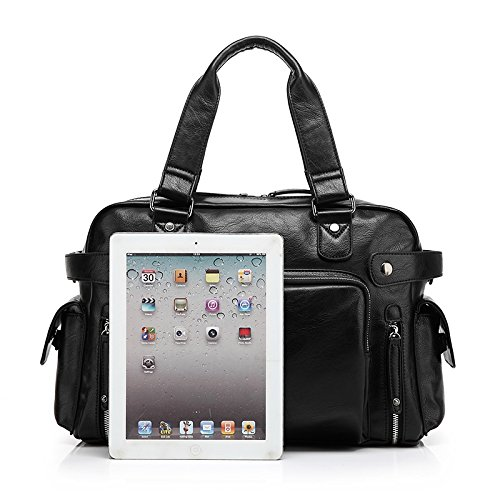 ZeleToile® HB-01locomotora Inglaterra estilo maletín de piel sintética bolso bandolera bolso de mano Totes Messenger iPad Tablet portátil bolsa de hombre, Retro Cruz Cuerpo Bolsa negro negro 38.5CM x negro