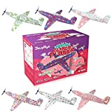 Joygogo Valentines Airplanes,8' Long Glider Planes for Kids,30 Pack Glider Plane and 30 Pack Valentines Card,Easy Assembly,Durable Quality-Perfect Kids Party Favors,Valentine Treats for School