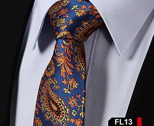 jacob alex #45961 Paisley Floral 2.75 inch Silk Jacquard Woven Slim Skinny Narrow Men Tie Necktie Summer Collection Orange Forest