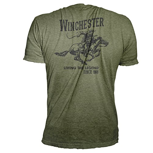 Official Winchester Mens Cotton Vintage Rider Graphic Printed Short Sleeve T-Shirt (Medium, Military Heather)