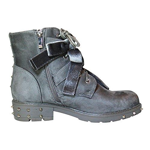 Damen Nieten Baggy Boots Stiefel Trend Outdoor Winter Stiefelette Grau 36-41