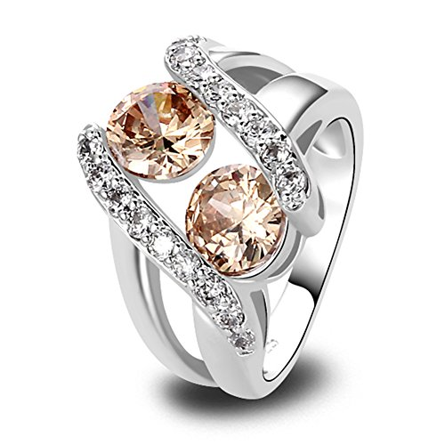 Psiroy 925 Sterling Silver Created Morganite Filled Knuckle Ring Band Size 10 ()