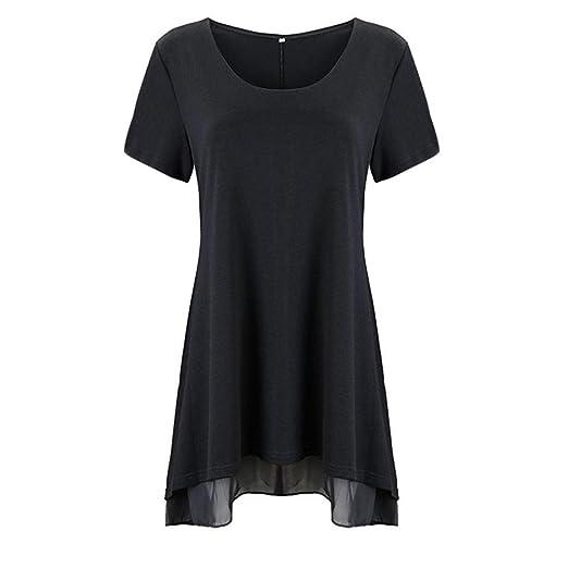 2e328f1f447 Amiley Hot Sale Women Short Sleeves Flare Tunic Tops For Leggings Flowy  Shirt (Black