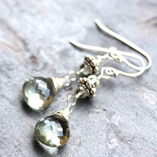 - Green Amethyst Earrings Sterling Silver Prasiolite Dangle Mint Green Briolettes Bali Beads