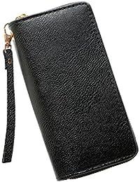 Gotd Womens Girls Bohemian Purse Wallet Long Wristlets Zipper Card Holder Bag Tassel Messenger Strap Handbag Tote on sale Clearance travel kids Coin Phone Clutch (Black)