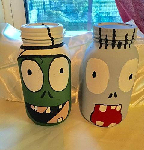 Plants VS. Zombies Painted Mason Jars for $<!--$24.00-->