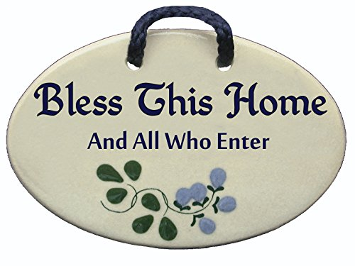 Bless this home and all who enter. Ceramic wall plaques handmade in the USA . Reduced price offsets shipping cost. by Mountain Meadows Pottery