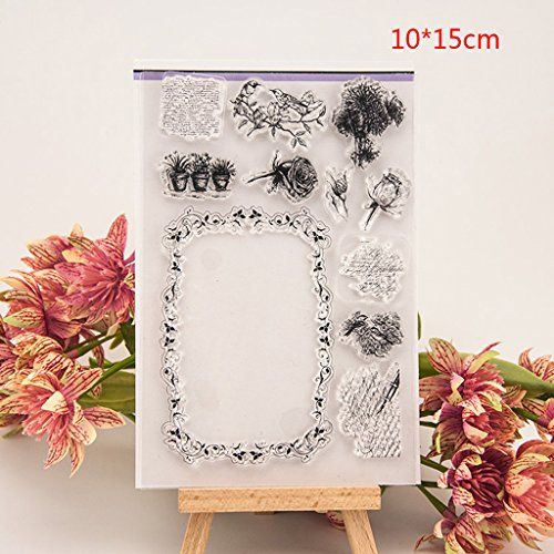 Shoresu Flower and Frame Clear Stamps Sheets Transparent Silicone Seal for DIY Scrapbooking Craft Card Photo Album Decorative 10x15cm/3.93x5.9
