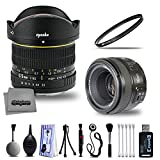 Deluxe Yongnuo 50mm f/1.8 Prime Lens and Opteka 6.5mm f/3.5 Wide Angle Fisheye with Digital DSLR Camera Photography Cleaning Including Card Reader Dust Brush and Tripod for Nikon
