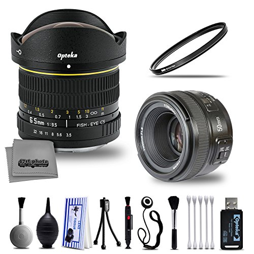 Deluxe Yongnuo 50mm f/1.8 Prime Lens and Opteka 6.5mm f/3.5 Wide Angle Fisheye with Digital DSLR Camera Photography Cleaning Including Card Reader Dust Brush and Tripod for Nikon by 47th Street Photo
