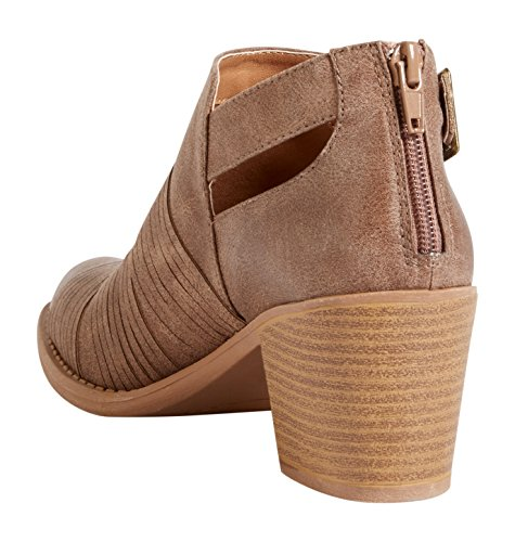 maurices Womens Darla Open Side Buckle Ankle Bootie Tan 2f2JlVH