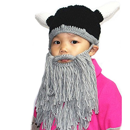 Price comparison product image BIBITIME Knitted Ox Horn Viking Beanie Hat Cap With Mask Beard For Adult or Kids (Kid Hat Grey Beard, Reference)