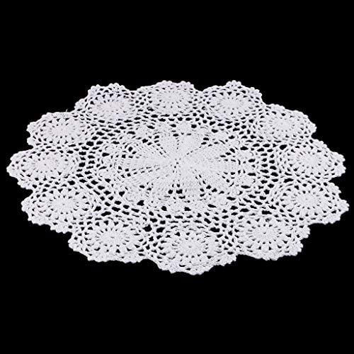 Runde Weiße Häkeln Tischdecke Gartentischdecke Tischmatte Tischläufer für