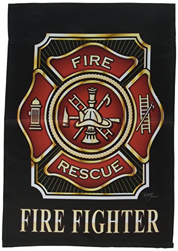 Breeze Decor G158063 Fire Fighter Americana Military Impressions Decorative Vertical Garden Flag 13″ x 18.5″ Printed in USA Multi-Color For Sale
