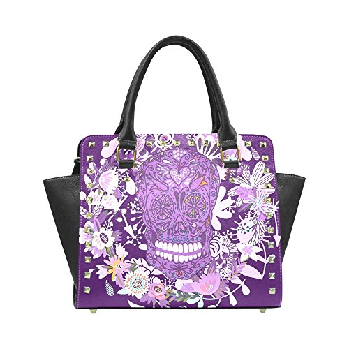 Sugar Skull Dia De Los Muertos Women's Rivet PU leather Shoulder Bag Handbag