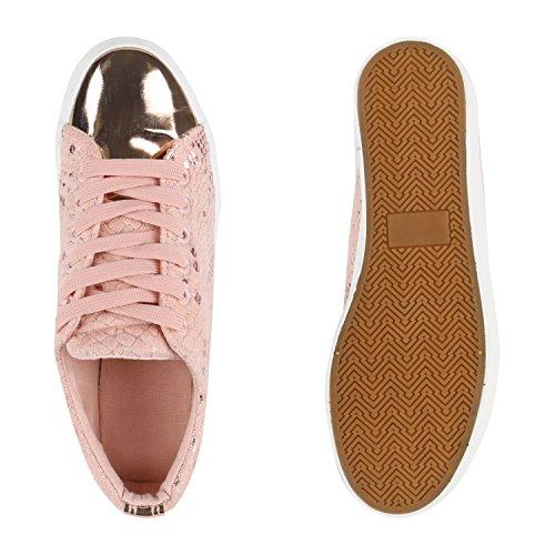 Prints Rosa Plateau Sneaker Damen Flandell Stiefelparadies Metallic qxCzHqgOw