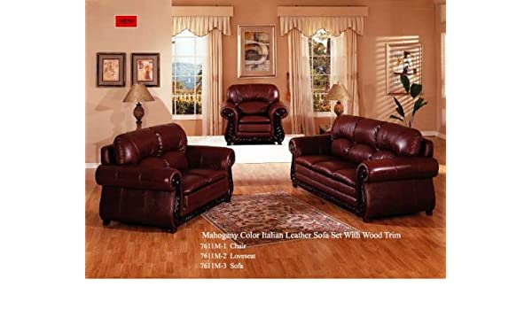 Amazon.com: Mahogany Color Italian Leather Sofa Set With Wood Trim    Loveseat: Kitchen U0026 Dining