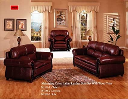 Mahogany Color Italian Leather Sofa Set With Wood Trim   Loveseat