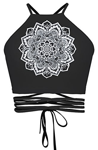 QZUnique Women's Printed Lace Up Halter Cross Hollow Boho Bandage Camis Crop Top (Tie Back Printed Top)