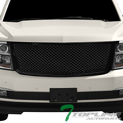 Topline Autopart Glossy Black Mesh Front Hood Bumper Grill Grille ABS For 15-18 Chevy Tahoe/Suburban (Chevy Hood Tahoe)