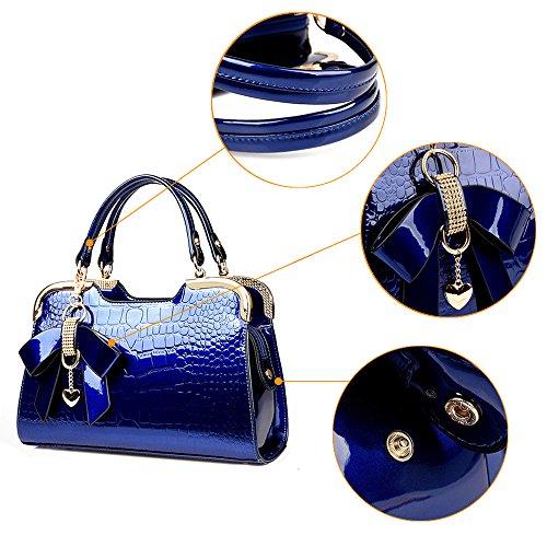 (JVPS 34-B) Bolso de las mujeres Nuevo tipo Bolso de cuero esmaltado del bolso de las mujeres Bolso de hombro del viajero europeo hombro redondo Todos los 4 colores Negro Azul Marino