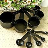 Black Plastic Measuring Cups 10pcs/lot Kitchen Tools Measuring Set Tools For Baking Coffee Tea