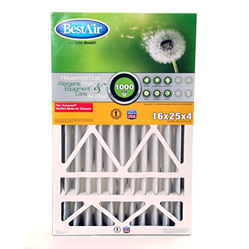 "BestAir HW1625-8R Furnace Filter, 16"" x 25"" x 4"", Honeywell Replacement, MERV 8"