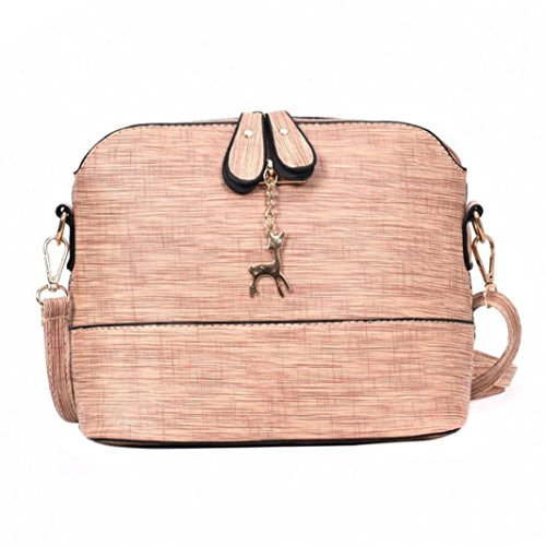 Womens Shoulder Bags, SHOBDW New Girls Cute Deer Decoration Messenger Vintage Small Shell PU Leather Casual Packet Handbag Pink