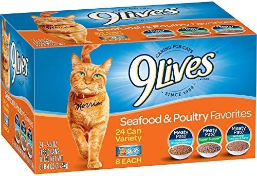 9 Lives Seafood Poultry Favorites Wet Cat Food Variety 24 Pack , 5.5 Oz