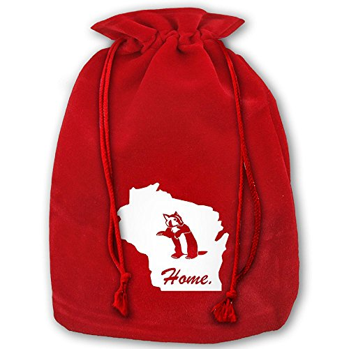 Wisconsin Badger Home State Edition Red Christmas Drawstring Bags / Santa's Trouser Bag/ Christmas Gift