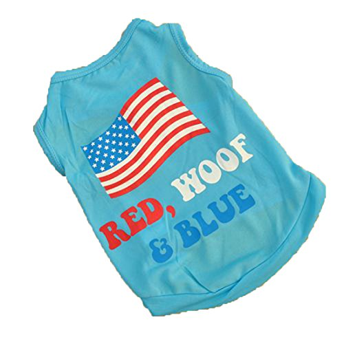 Summer Apparel Puppy dog pet clothes summer the usa flag vest sleeveless dog t-shirts apparel
