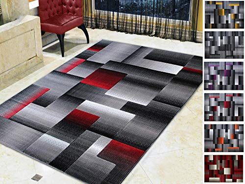 (Handcraft Rugs Red Lava/Silver/Gray Abstract Geometric Modern Squares Pattern Area Rug 5 ft. by 7 ft.)