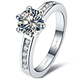 Test Real 1CT Brand Moissanite Synthetic Diamond Ring 6 Prongs Engagement Women 18K White Gold Ring