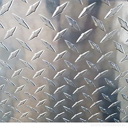 Aluminium Strukturblech Alu Riffelblech 1000x625 mm DIAMAT 1,5//2,0 mm stark gro/ße Auswahl Alu Tr/änenblech Alu Warzenblech