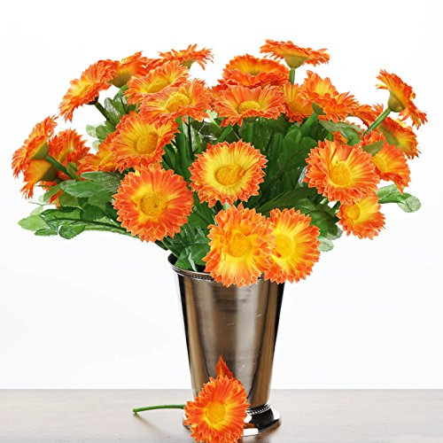 BalsaCircle 108 Orange Silk Daisy Flowers - 12 bushes - Artificial Flowers Wedding Party Centerpieces Arrangements Bouquets