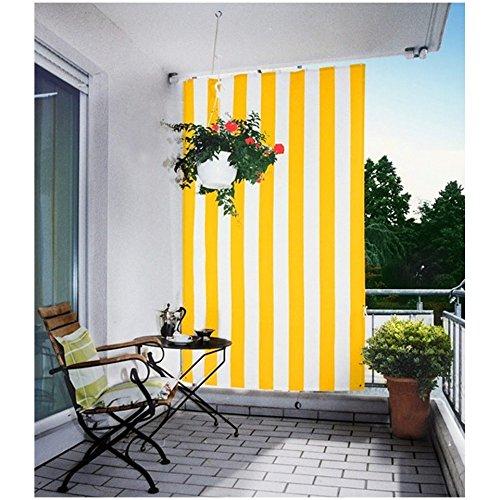 Floracord 05-77-61-00P Senkrechtsonnensegel 230 x 140 cm Blockstreifen mit Zubehör montagefertig, gelb / weiß