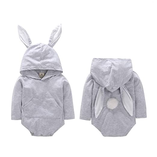 2853abbbc4b Baby Girl Boy Romper Clothes Warm Long Sleeve Cartoon Rabbit Ear Hooded  Newborn Jumpsuit Baby Romper