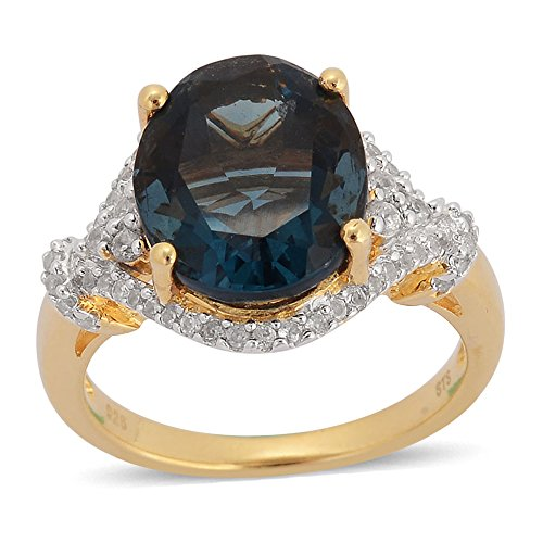 Yellow Ring Fluorite (Blue Fluorite Zircon Yellow Gold Plated Silver Cocktail Fashion Ring For Women 5.9 Cttw Size 7)