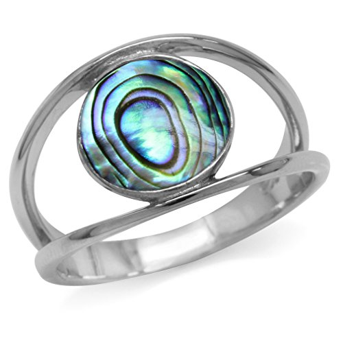 (10MM Round Shape White Gold Plated 925 Sterling Silver Fashion Solitaire Ring (abalone, 9.5))