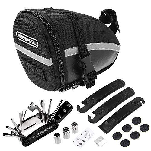 Lixada Bike Tyre Repair Tool Kit 16 in 1 Multi Function Cycling Repair Tool Kit with Bicycle Saddle Bag